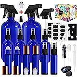 Glass Spray Bottle,MASSUGAR Cobalt Blue Glass Spray Bottles Set Refillable Container for Essential Oil Bottle Kits - 2 x 16oz
