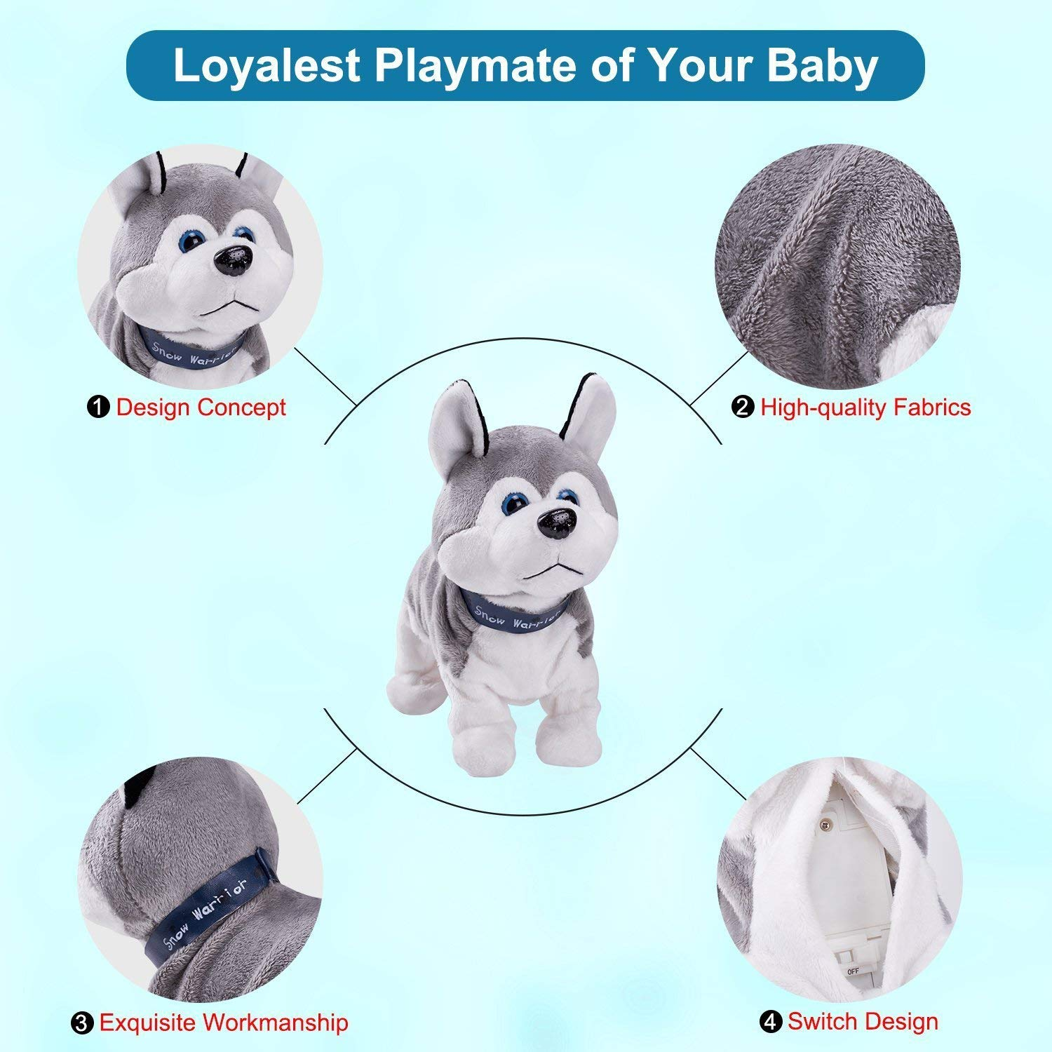 Interactive Puppy Plush Animated Pet Electronic Dog Cute Robot Dog Baby Toys Touch Control Plush Husky Stuffed Animal Dog Toy Toddler kids Girl Toys Tumbling, Clapping hands, Bowing Length 12'' by Marsjoy (Image #7)