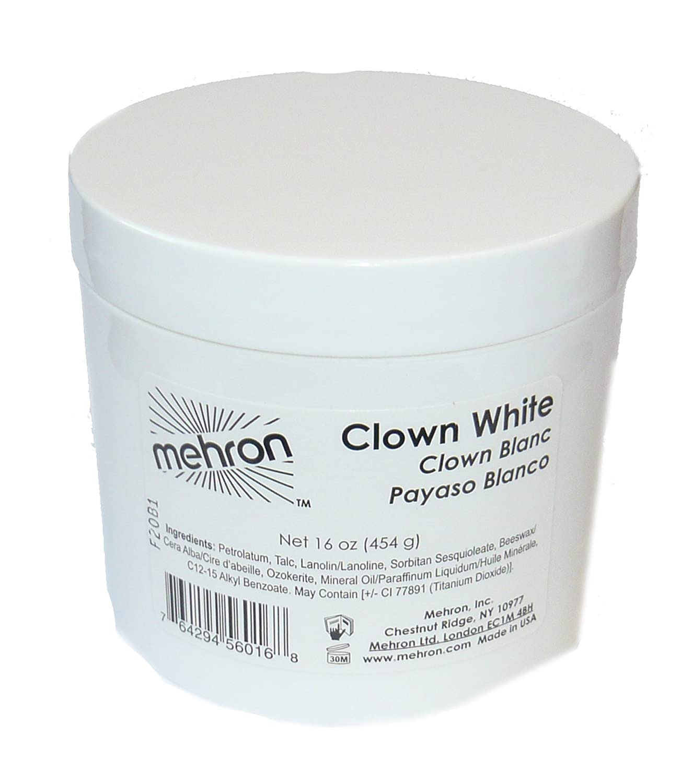 16oz Mehron Clown White Tub Makeup Professional 130