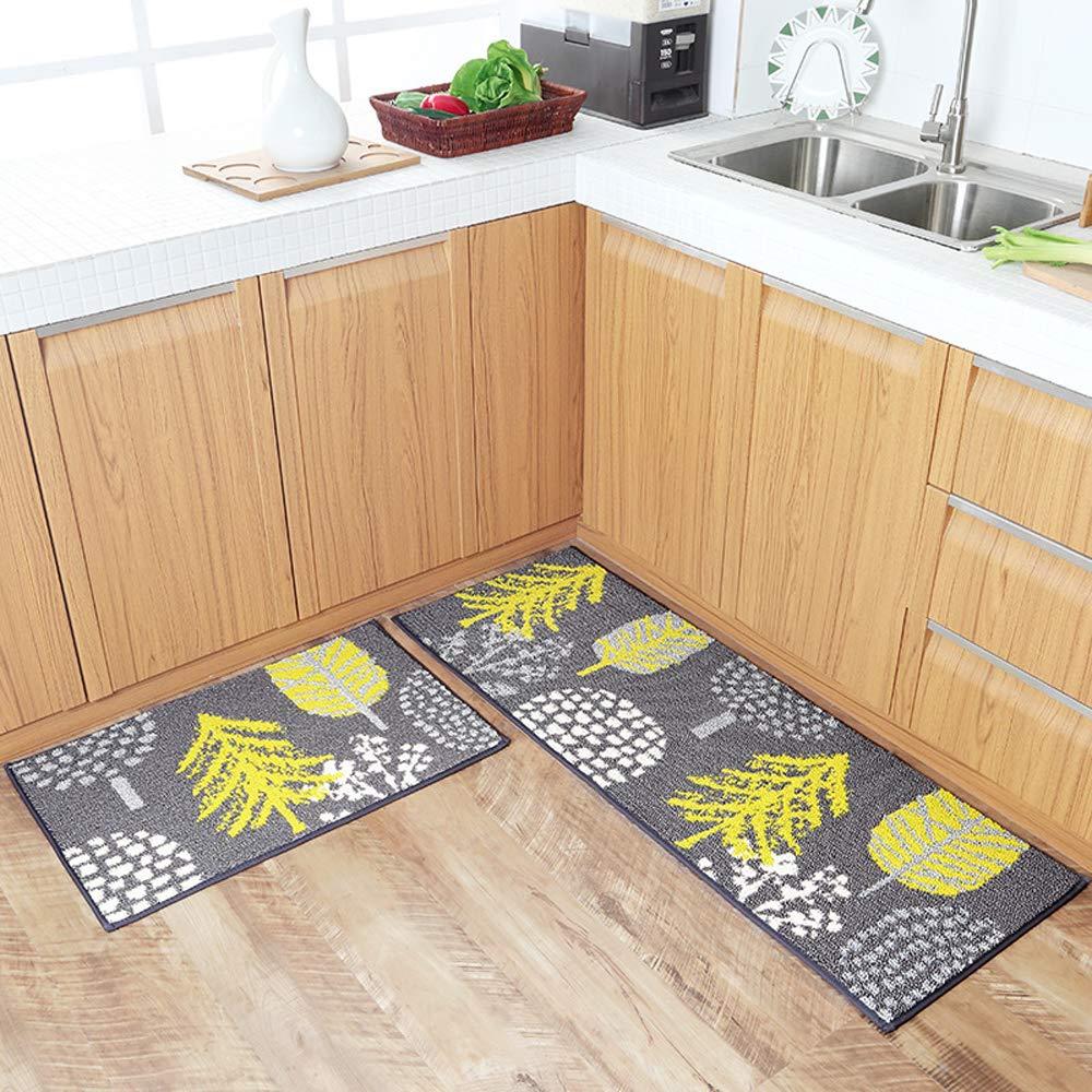 HEBE Kitchen Rugs Set 2 Piece Kitchen Rug Mats Kitchen Runner Rug Door Mats Set Non-Slip Backing Machine Washable