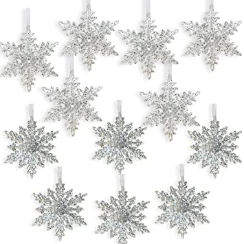banberry designs acrylic iridescent snowflake christmas ornaments set of 12 assorted styles of snowflakes