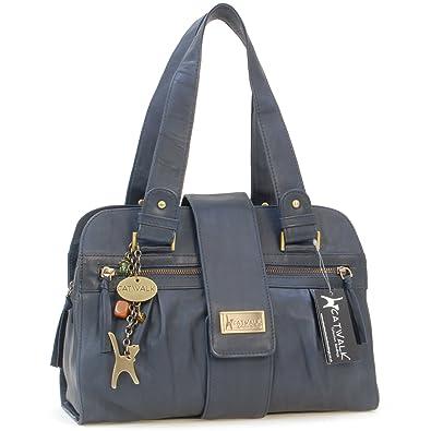 de0b1c86637f Handtasche - Leder - Zara von Catwalk Collection - Blau - Große  B  32.5