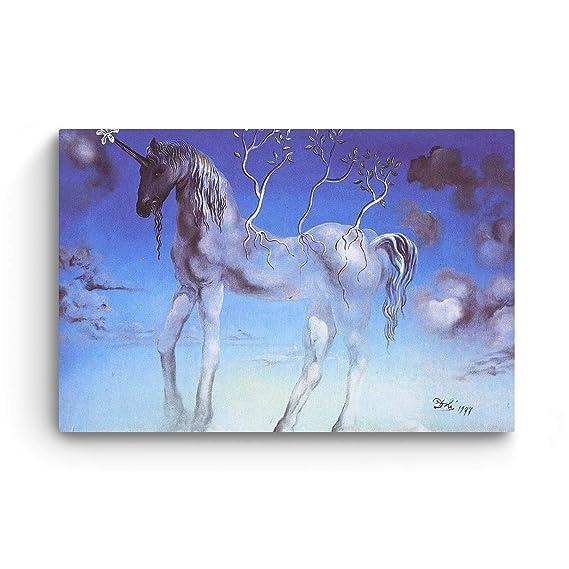 Startonight Cuadro sobre Lienzo Salvador Dali Unicornio, Impresion en Calidad Fotografica Enmarcado y Listo Para Colgar Diseño Moderno Decoración Formato ...