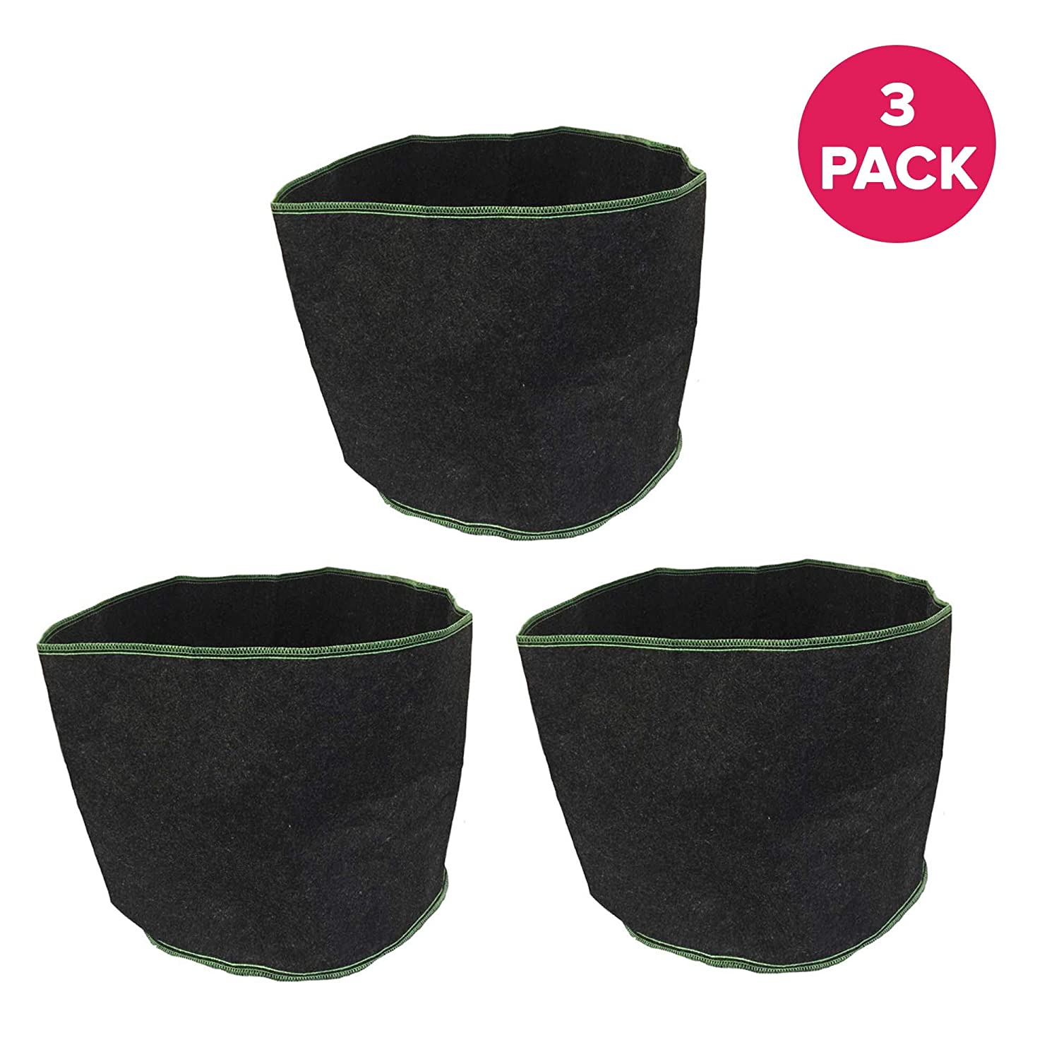Think Crucial Durable 10 Gallon Fruit Vegetables Reusable Grow Bag 13 x 15.5 in Soft-Sided Container, Perfect Grow Pot for Flowers, Herbs, Tree Seedlings, Tomatoes, Indoors Outdoors 3 Pack