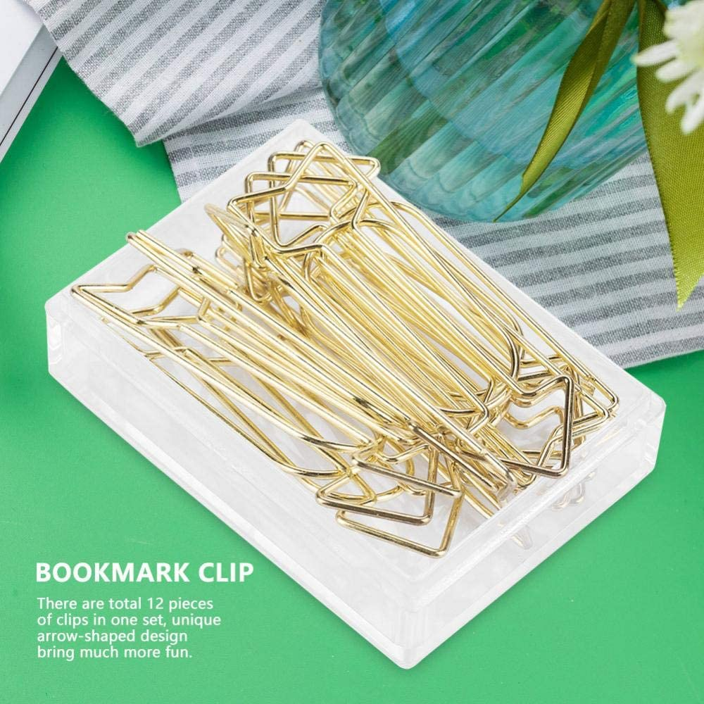12pcs Cute Paper Clip Gold Electroplating Metal Arrow Shaped Page Marker Funny Stationery Bookmark Marking Clip for Office Supplier School Student