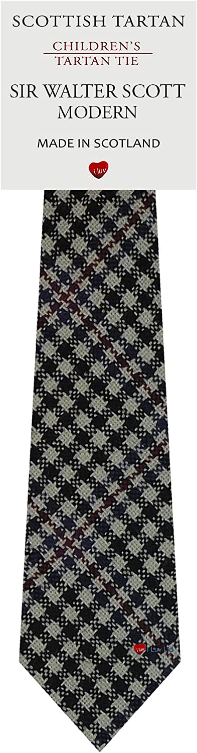 Boys All Wool Tie Woven And Made in Scotland in Sir Walter Scott Modern Tartan: Clothing