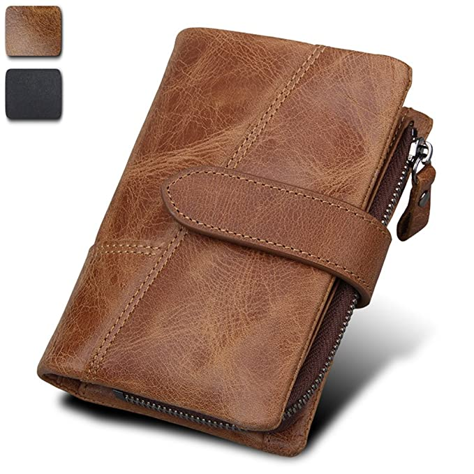b3295bf71121b Image Unavailable. Image not available for. Color  SINIANL Men s RFID  Blocking Trifold Genuine Leather Card Holder Bifold Wallet