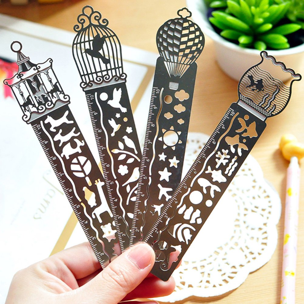 C-Pioneer 4pcs Creative Hollow Metal Bookmark Ruler Stationery Cute Student Gifts Office School Supplies