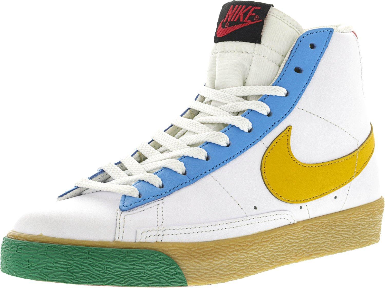 Nike Women's Blazer Mid White/Yellow ocher -Vivid Blue-Washed Green Mid-Top Fabric Fashion Sneaker - 7M
