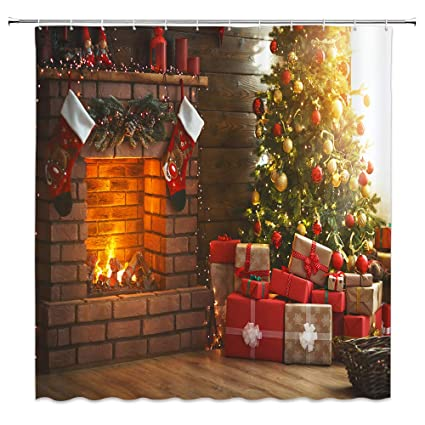 BCNEW Christmas Shower Curtain Decor, Christmas Fireplace Christmas Tree  Gift Christmas Stocking, 70 x 70 Inches Waterproof Mildew Resistant  Polyester