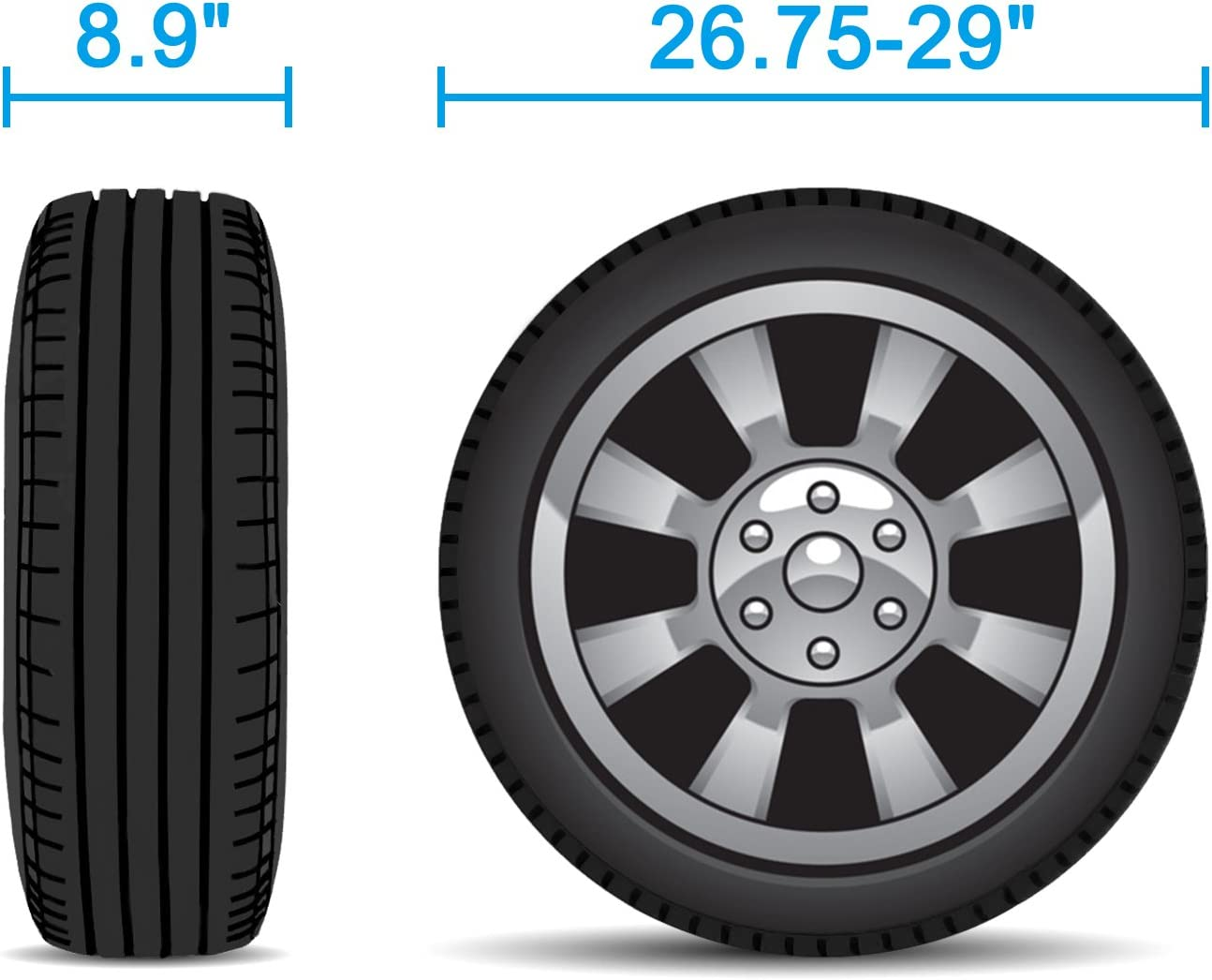 Fits 26.75-28.9 Tire Diameters Waterproof UV Coating Tire Protectors for Trailer Truck Camper Auto RVMasking Tire Covers for RV Wheel Set of 4 Extra Thick 5-ply Motorhome Wheel Covers