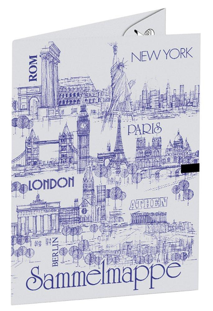 Sammelmappe mit Verschlussband, DIN A2, aus Graukarton, Städte der Welt, sortiert in 5 Farben Städte der Welt 5612800