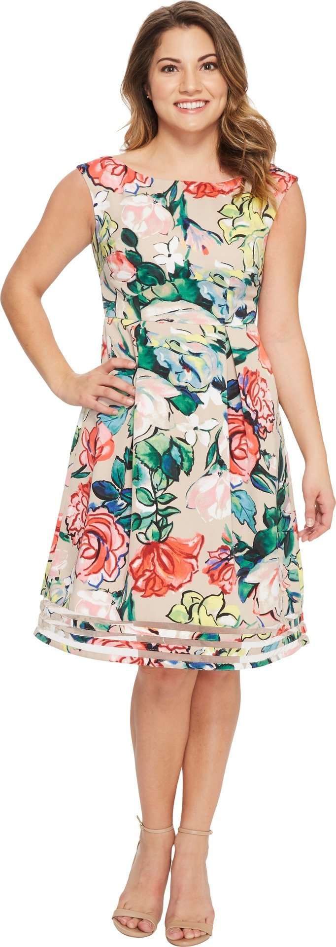 Adrianna Papell Women's Petite Stained Glass Floral Faille Fit and Flare Dress, Khaki Multi, 12