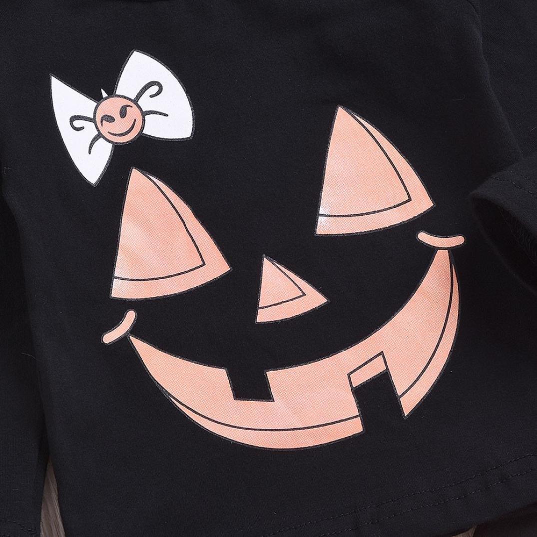 Memela Baby Halloween Costumes,2PCS Halloween Kids Cartoon Print Top Clothes Striped Long Pants Set Outfit