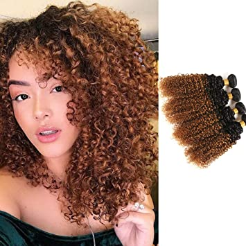 Amazon Com Feelgrace Fast Delivery Ombre 2 Tone Kinky Curly Human Hair Weave Bundles 4 Pieces 1b 30 Ombre Brown Virgin Curly Hair Bundles 400 Gram Silky Soft And Bouncy Curly Hair Weave 12 14 16 18 Inches Beauty