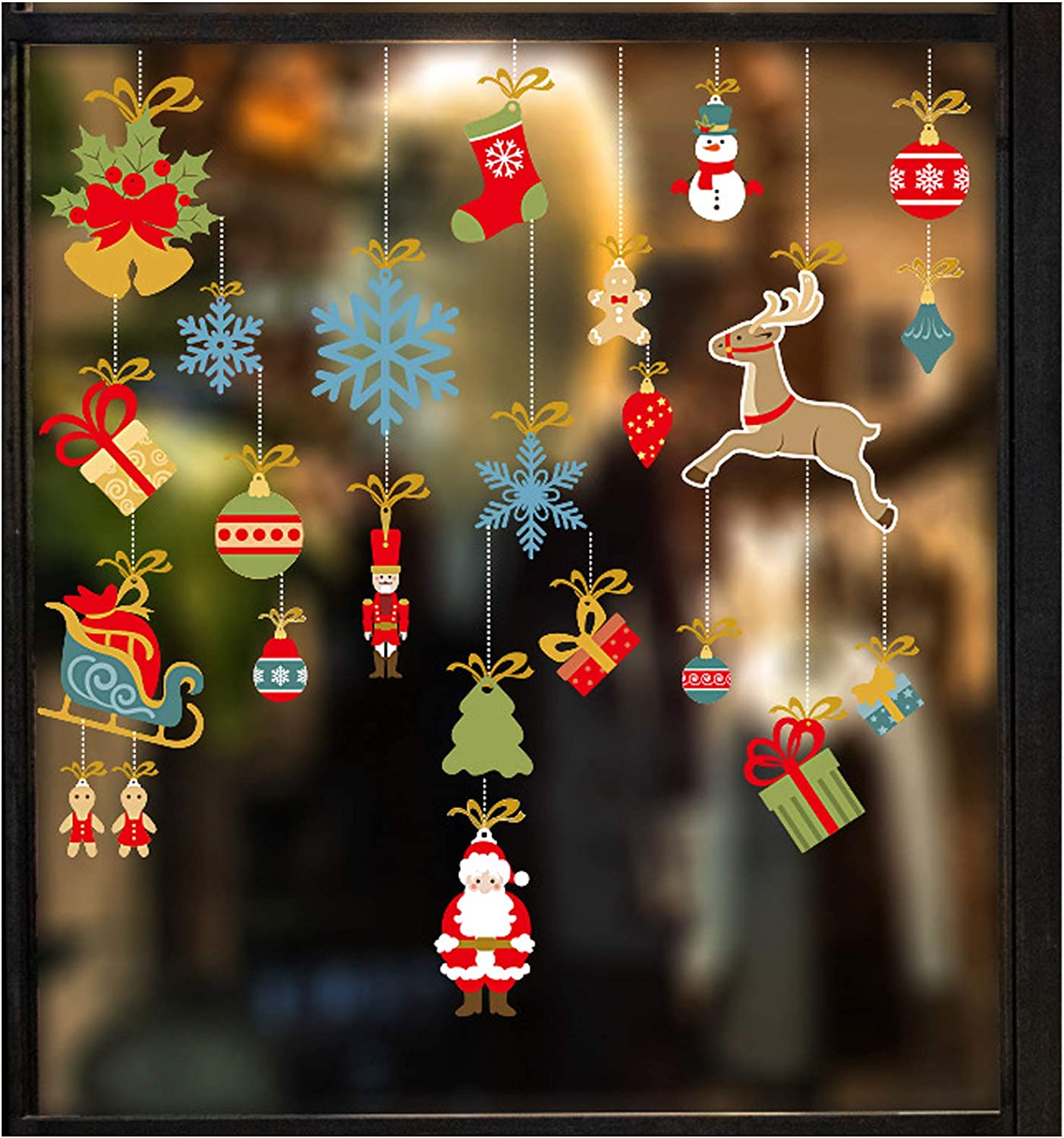 Christmas Wall Decals Windows Stickers, Snowflake Snowman Reindeer Window Wall Decal, DIY Lovely Vinyl Door Showcase Sticker, Xmas Self-Adhesive Holiday Decoration Removable Party Home Decor (1)