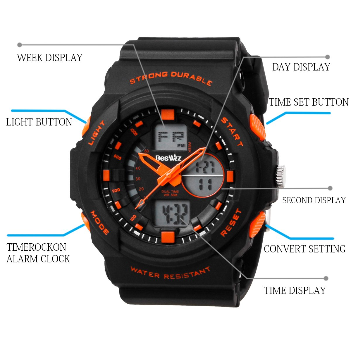 BesWLZ Multi Function Digital LED Quartz Watch Water Resistant Electronic Sport Watches Child Orange by BesWlz (Image #5)