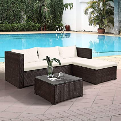 Enjoyable Rhomtree 3 Piece Wicker Patio Furniture Set Outdoor Rattan Sectional Conversation Set Sofas Table Cushioned Seats Beige Cushion Inzonedesignstudio Interior Chair Design Inzonedesignstudiocom