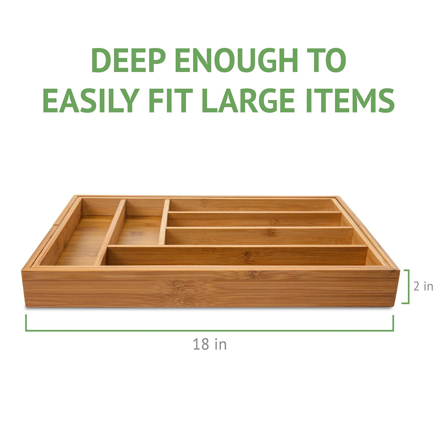Ivation Large Expandable Bamboo Drawer Organizer Adjustable