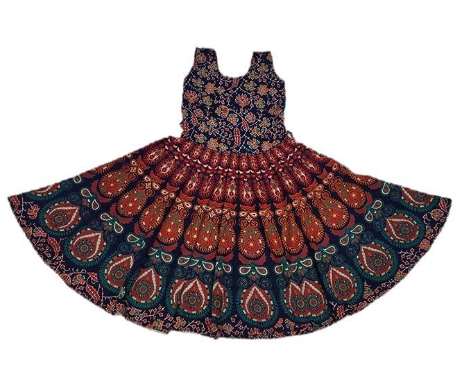 435dc7635 G for Girl Girl s Cotton Jaipuri Midi Frock Dress (Blue