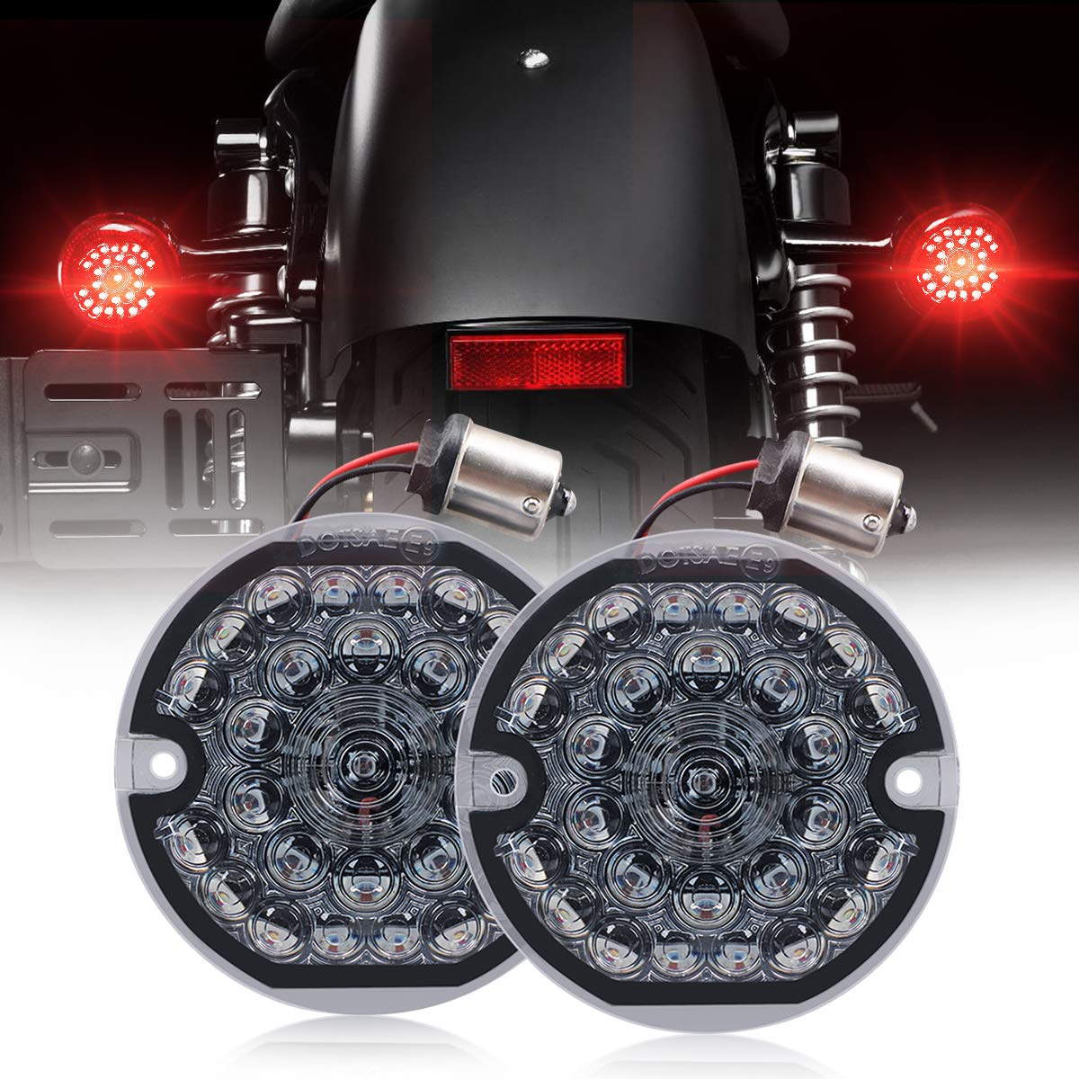 3-1/4 Inch Rear Led Turn Signal Flat Smoke Lens 1156 Base Bright Red Lamp for Harley Motorcycle Road Glide Road King Softail Ultra Classic Ultra Limited Electra Glide (1156 Rear, Red) by AUDEXEN