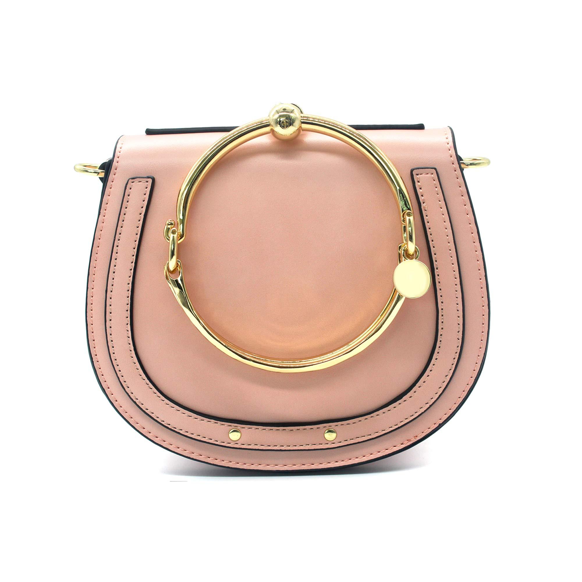 Yoome Elegant Rivets Punk Style Circular Ring Handle Handbags Messenger Crossbody Bags For Girls - Pink
