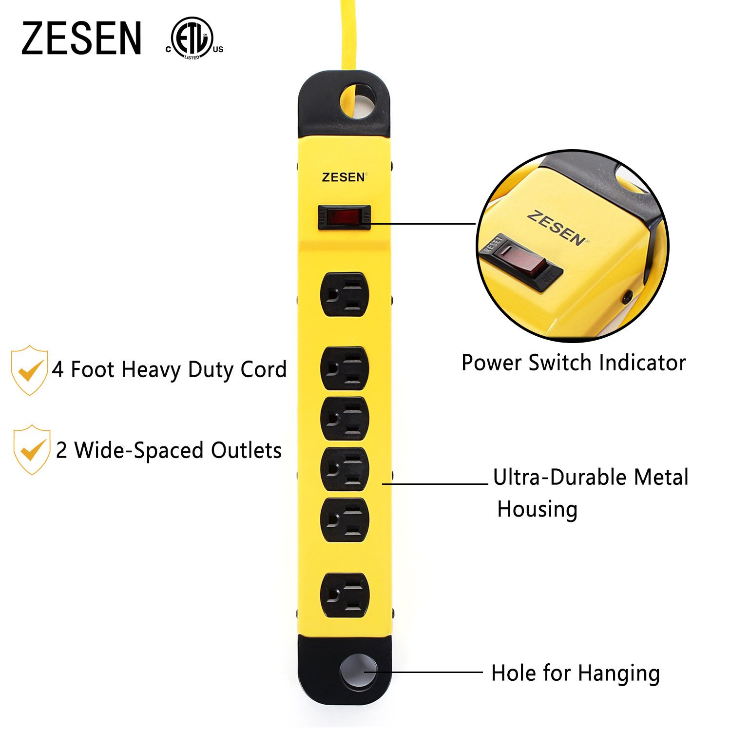 ZESEN 6 Outlet Heavy Duty Metal Workshop Surge Protector Power Strip with Cord Management, 4-Foot Cord, ETL Listed