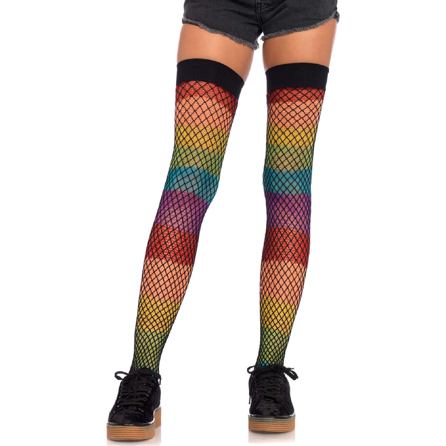 38287e4964d Amazon.com: Leg Avenue Womens Rainbow Thigh Highs with Fishnet Overlay:  Clothing