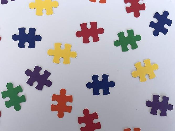 Amazon Com Puzzle Piece Confetti Puzzle Decorations Jigsaw
