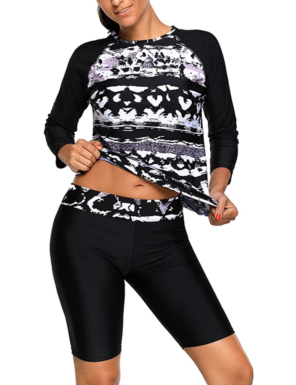 Foryingni Women's Color Block 2 Piece Swimsuit Rashguard Tankini Top With Board Shorts