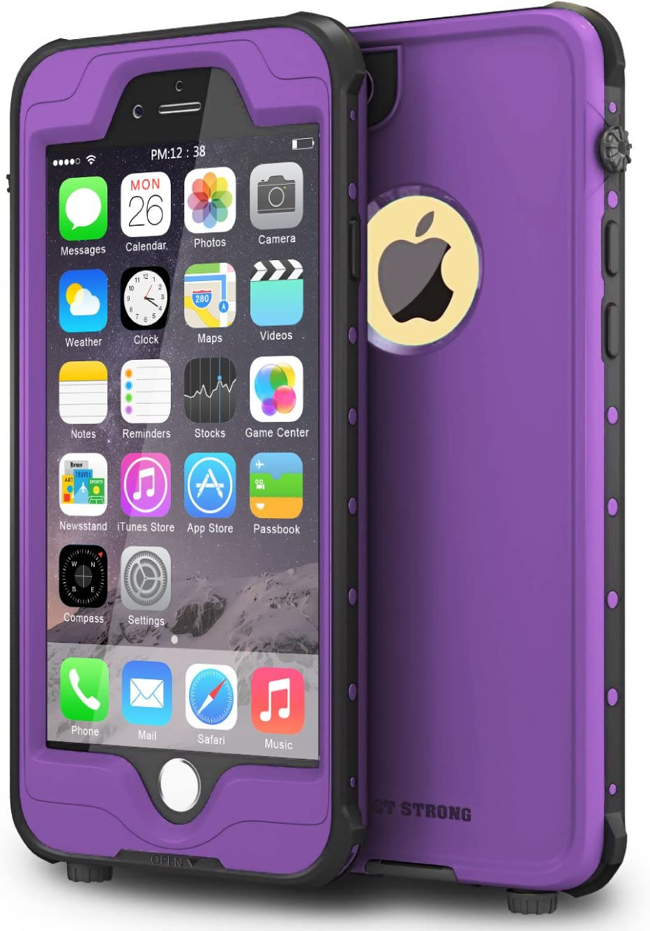 "ImpactStrong iPhone 6 Plus 5.5 inch Waterproof Case [Fingerprint ID Compatible] Slim Full Body Protection for Apple iPhone 6 Plus & 6s Plus (5.5"") - Purple"