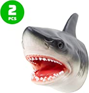 Hominize Premium Rubber Shark Hand Puppets - Set of 2 pcs - 7 inches - Kid Size