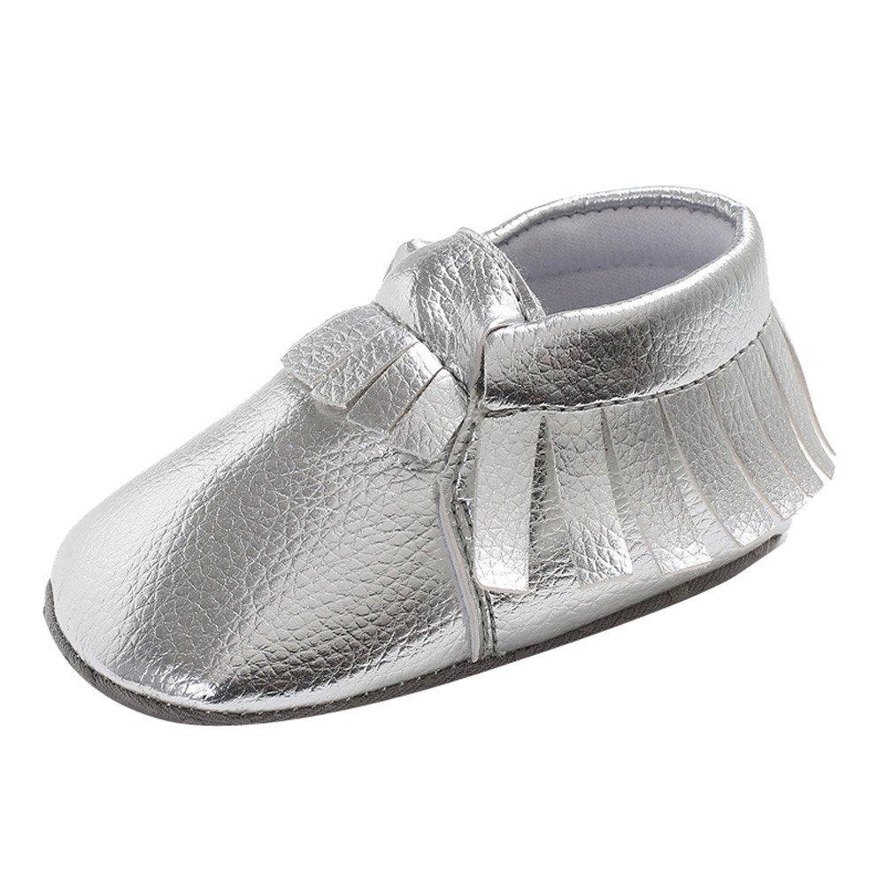 Yalasga Toddler Boys Girls Soft Tassels Shoe Newborn Cute Anti-slip Baby Shoes (Silver, 0~6 Month)