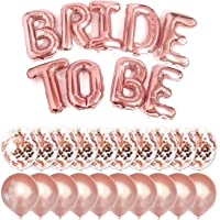 """Big BRIDE TO BE Balloons Rose Gold 16\"""" Letters Banner - Bachelorette Party Decorations Set with 10 Rose Gold Confetti…"""