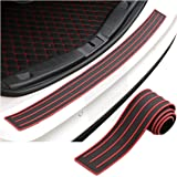 "AUDEW Universal Car Rubber Rear Guard Bumper Protector Trim Cover, Car Sticker Protector Kit for Most Truck SUV Car 35.5""Black with Red Stripe Design"