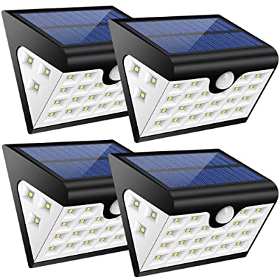 Lamparas Solares GRDE 28 LED Ultra Brillante Luz Solar con Waterproof IP65 y Lux 300, Luces Led Solares para Exterior Actividades, Jardin, Patios, Terrazas, Caminos, Escaleras, Entradas, etc (4 packs)