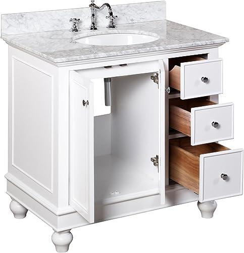 Bella 36-inch Bathroom Vanity Carrara/White : Includes White Cabinet