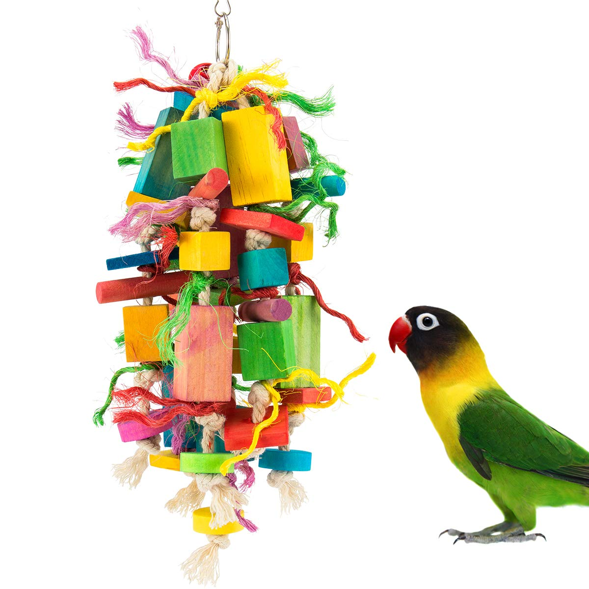 MEWTOGO Medium Bird Parrot Toys - Multicolored Wooden Blocks Tearing Toys for Conures Cockatiels African Grey Foraging and Amazon Parrot Toys by MEWTOGO