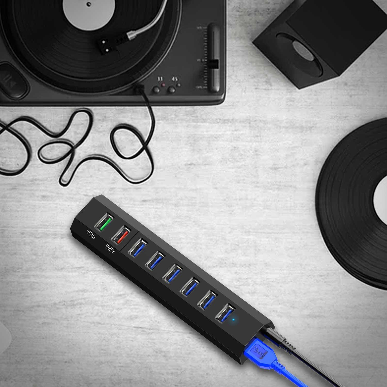 8-Port USB Hub, RAOYI USB Hub 3.0 Powered, 6 Port USB 3.0 Data Hub with 12V Power Adapter, 3.3ft USB Cable for MacBook, Mouse, Laptop, PC, USB Flash Drives, HDD Hard Drive (Black) by RAOYI (Image #8)