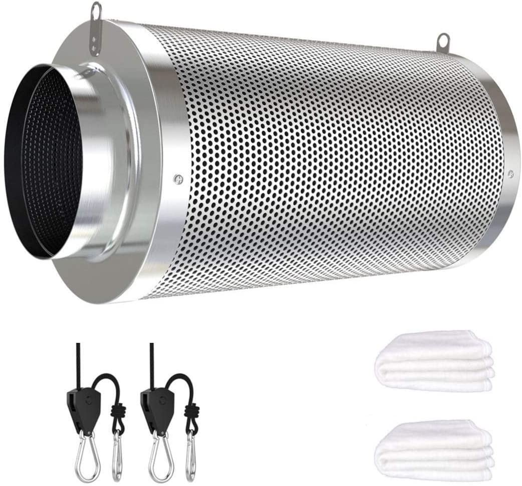 Vanleno 4inch Carbon Filter Odor Control for Inline Duct Fan, Grow Tent, Hydroponics, Odor Scrubber