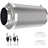 Vanleno 4inch Carbon Filter Odor Control with Australia Virgin Charcoal Two Prefilter 1 Pair Rope Ratchet Included for Inline