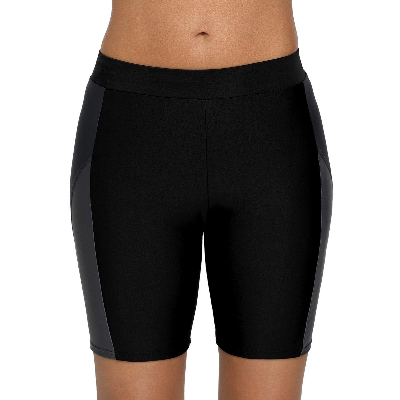 Vegatos Women UPF 50+ Long Bike Swim Shorts Colorblock Boyleg Boardshorts Swimwear Bottoms