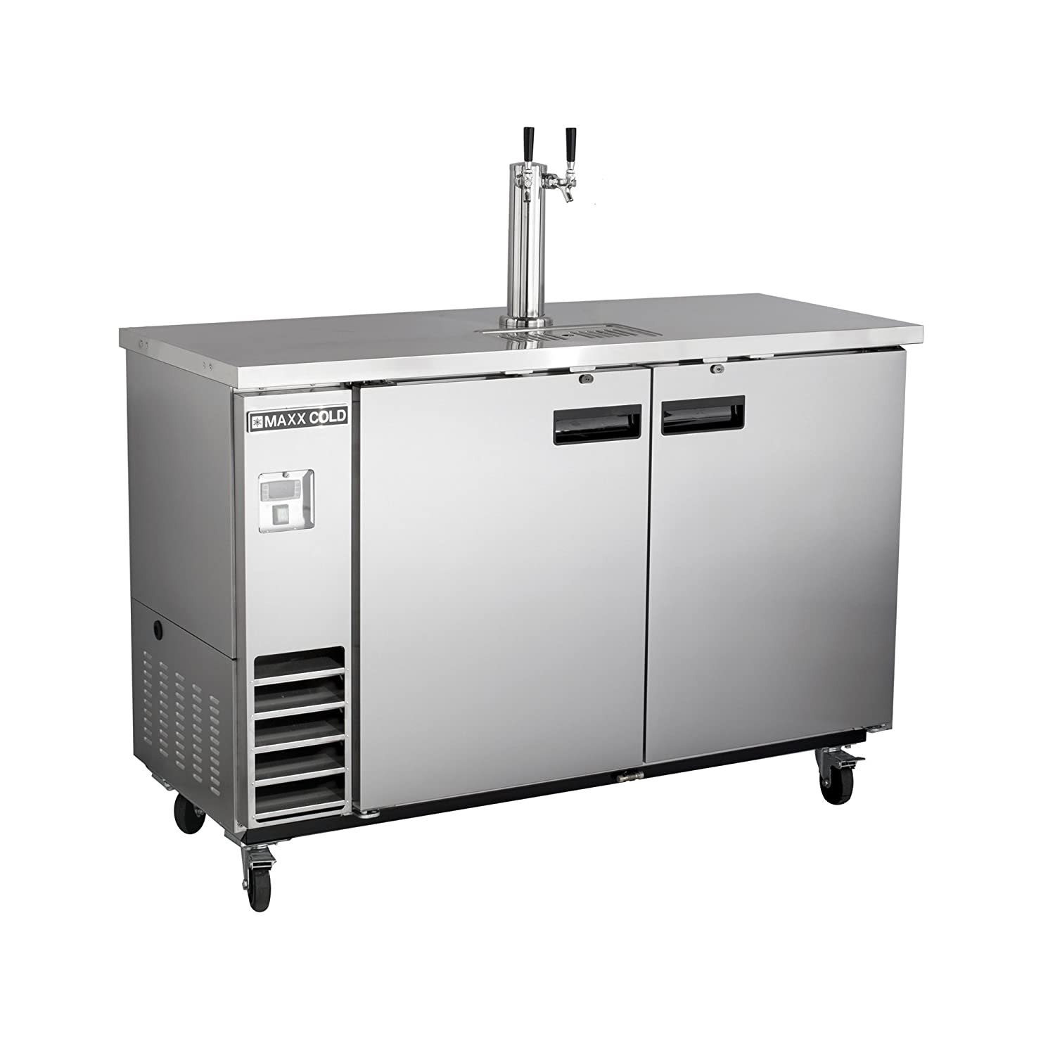 Maxx Cold MXBD48-1S Commercial Stainless Steel NSF Bar Direct Draw Kegerator Beer Dispenser Cooler with 1 Single Tower Tap Holds 2 Half 1/2 Size Keg, 47.5 Inch Wide 10.5 Cubic Feet , Silver