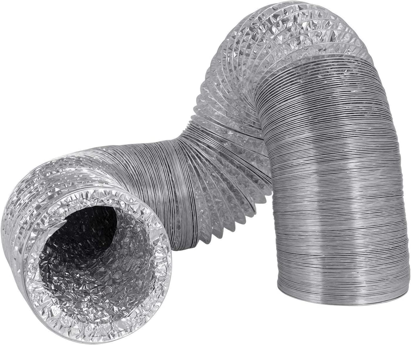Hon&Guan Manguera Flexible de Ventilación de Aluminio Tubo Salida Aire para Baño, Kitchen Campana(ø100mm*2m,Plata): Amazon.es: Hogar