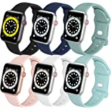 6 Pack Sport Band Compatible with Bracelet Apple Watch 38mm 40mm 41mm 42mm 44mm 45mm iwatch Bands Series 7 6 5 4 3 2 1 SE Sof