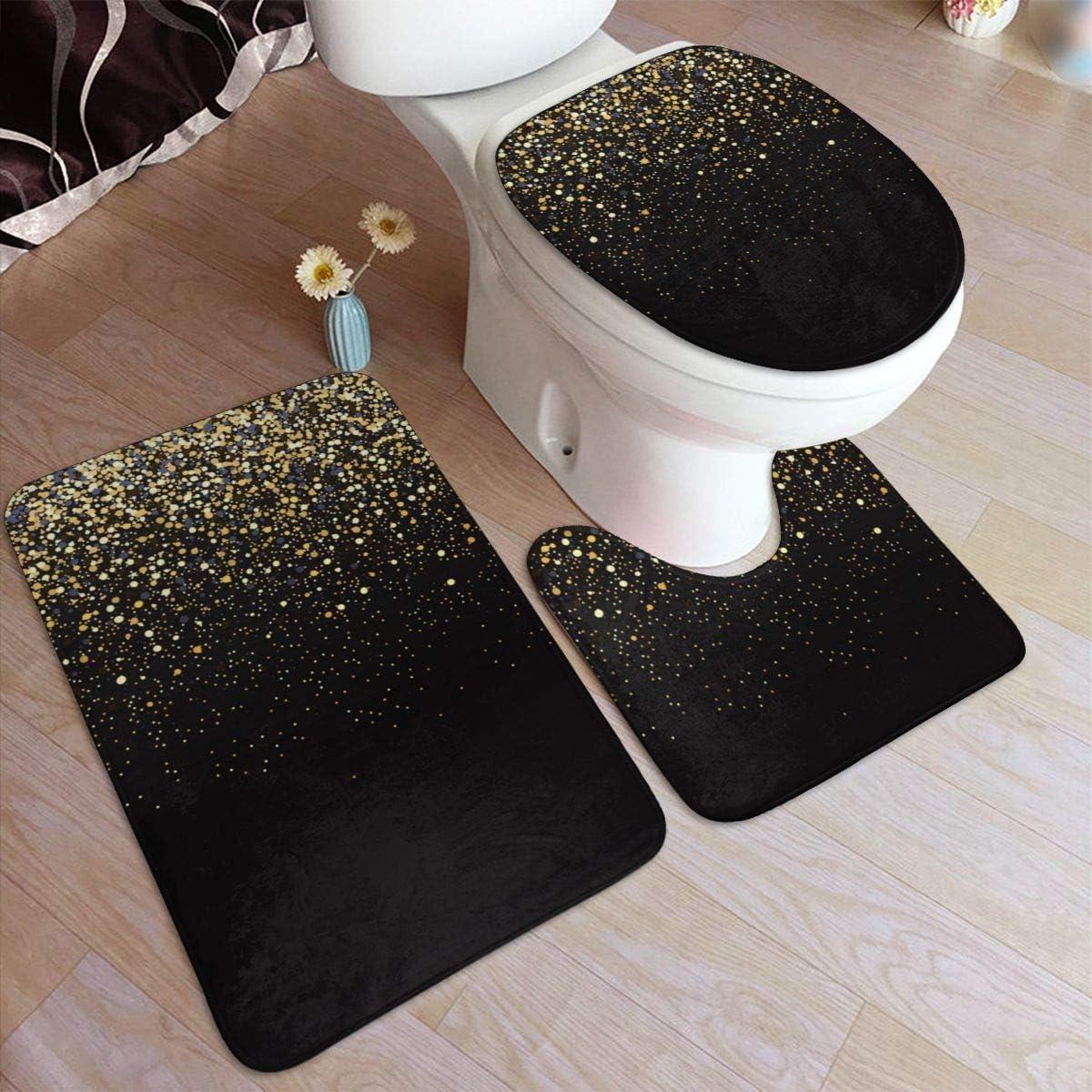 Amazon Com Vbcdgfg Bathroom Rugs Sets 3 Piece Gold Glitter Black Cool Modern Bathroom Rugs Mats Set 3 Pieces Bath Rugs For Bathroom Washable U Shaped Contour Rug Mat And Lid Cover Home