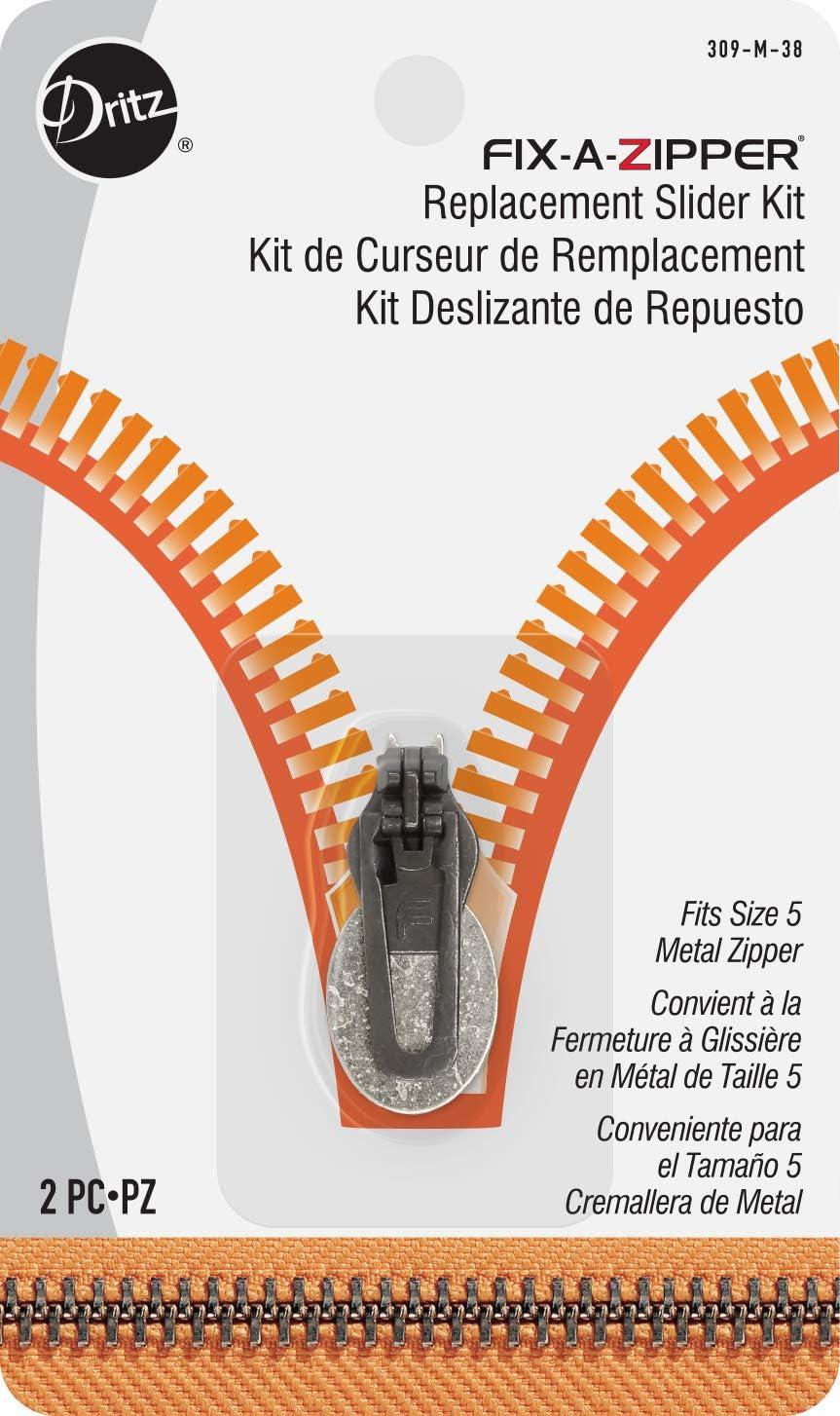 Dritz 309-M-38, Fix Replacement Slider Kit for Size 5 Metal Zipper, Antique Brass