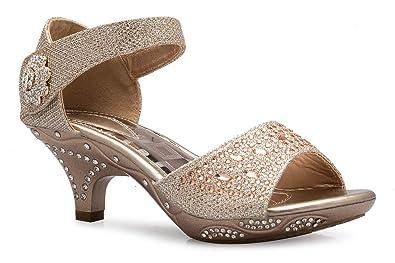 9ddb971b22 OILIVIA K Girls Sparkly Rhinestone Kitten Heel Platform Dress Sandals  (Toddler/Little Girl)