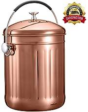 RED FACTOR - Cubo de Basura para compostaje de Cocina (Acero Inoxidable, con Filtro y Tapa, 5 litros de Color Cobre, Incluye 3 filtros de carbón de Repuesto)
