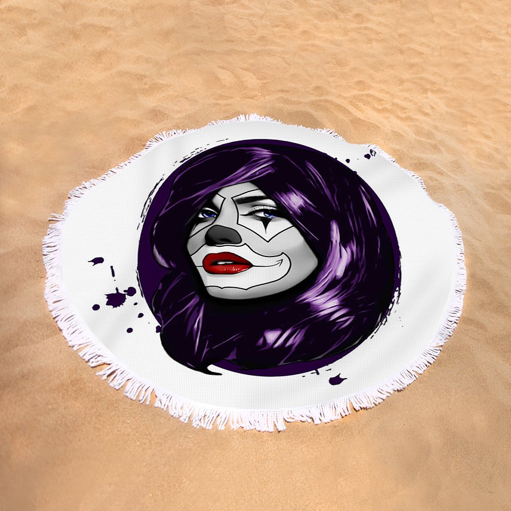 Pixels Round Beach Towel With Tassels featuring ''Clown Girl'' by Nicklas Gustafsson